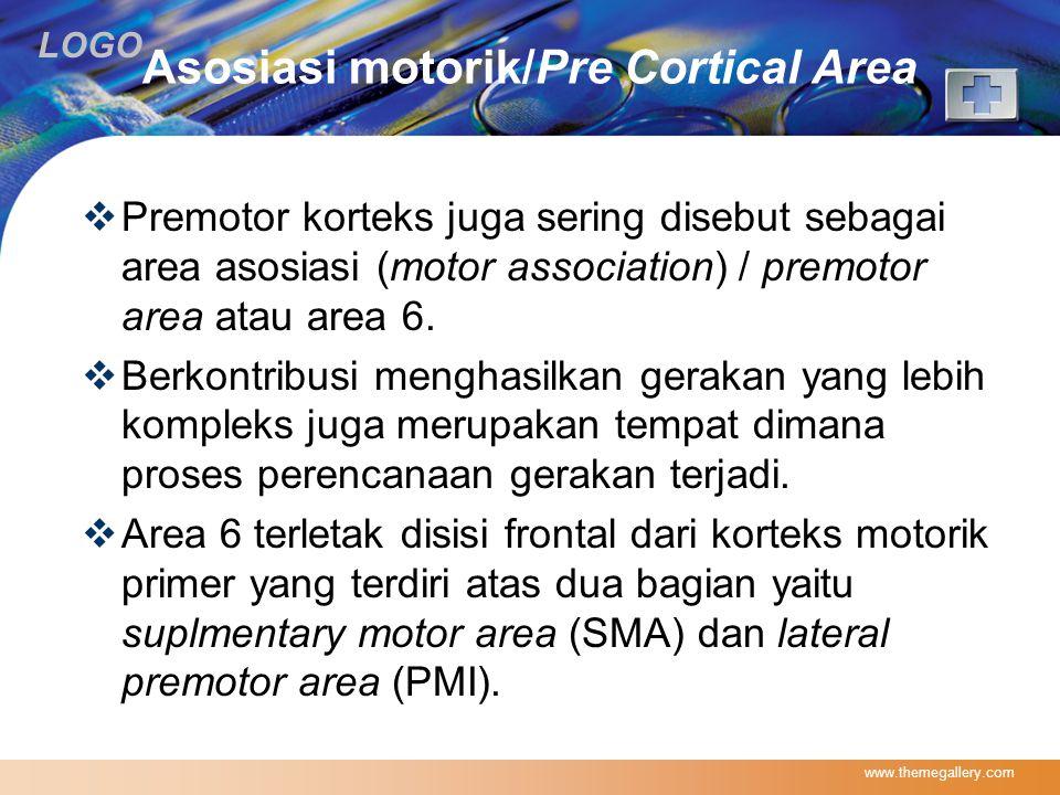 LOGO Asosiasi motorik/Pre Cortical Area  Premotor korteks juga sering disebut sebagai area asosiasi (motor association) / premotor area atau area 6.