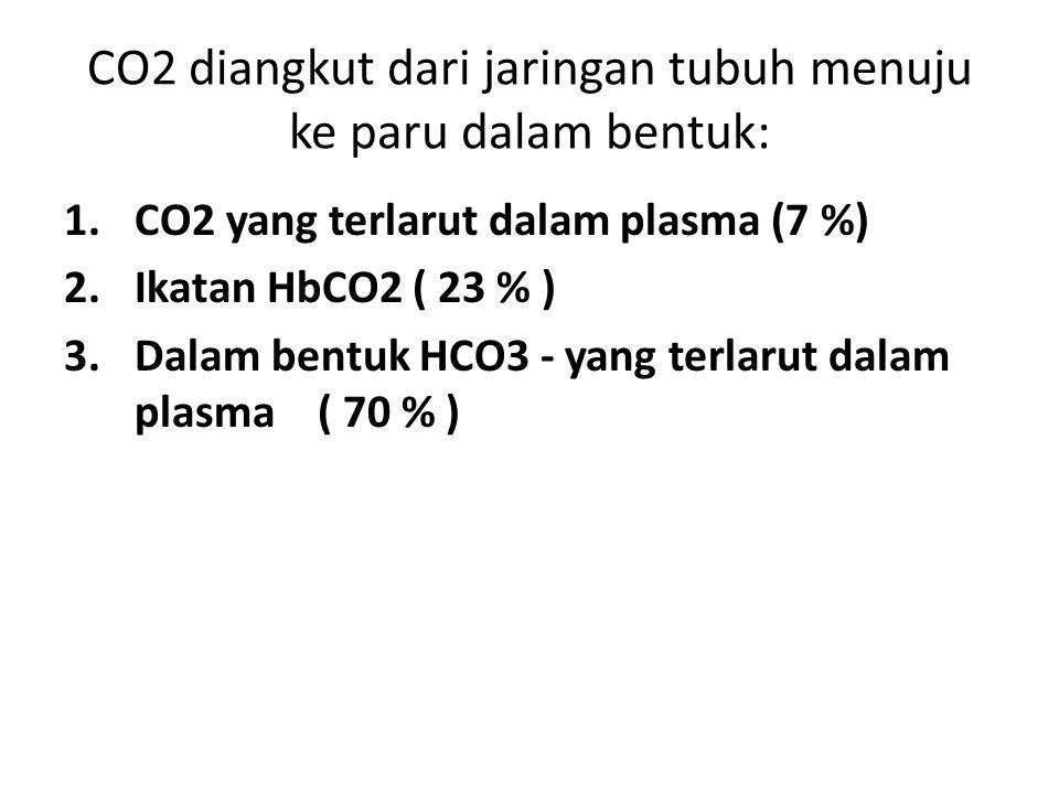 CO2 diangkut dari jaringan tubuh menuju ke paru dalam bentuk: 1.CO2 yang terlarut dalam plasma (7 %) 2.Ikatan HbCO2 ( 23 % ) 3.Dalam bentuk HCO3 - yan