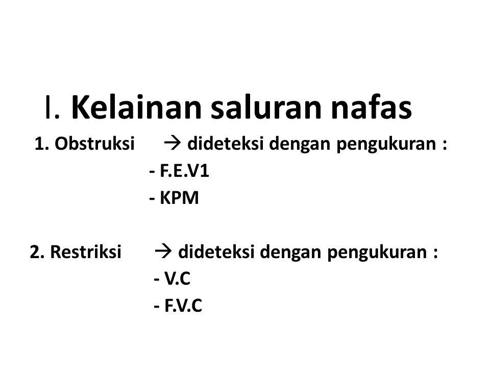 I. Kelainan saluran nafas 1. Obstruksi  dideteksi dengan pengukuran : - F.E.V1 - KPM 2. Restriksi  dideteksi dengan pengukuran : - V.C - F.V.C