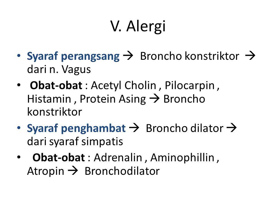 V. Alergi Syaraf perangsang  Broncho konstriktor  dari n. Vagus Obat-obat : Acetyl Cholin, Pilocarpin, Histamin, Protein Asing  Broncho konstriktor