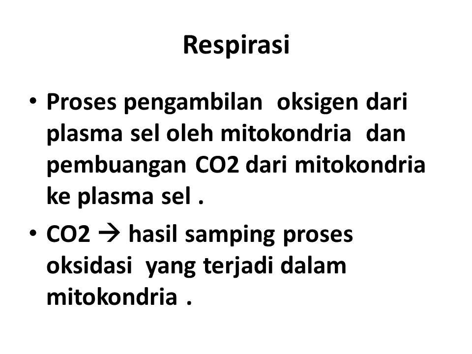 Respirasi Proses pengambilan oksigen dari plasma sel oleh mitokondria dan pembuangan CO2 dari mitokondria ke plasma sel. CO2  hasil samping proses ok