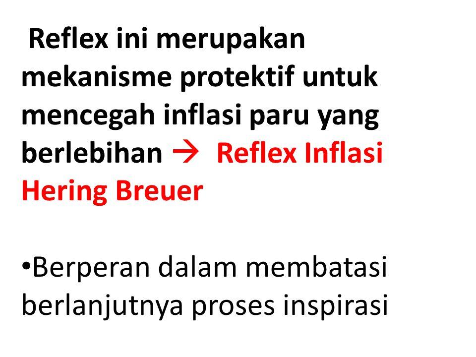 Reflex ini merupakan mekanisme protektif untuk mencegah inflasi paru yang berlebihan  Reflex Inflasi Hering Breuer Berperan dalam membatasi berlanjut