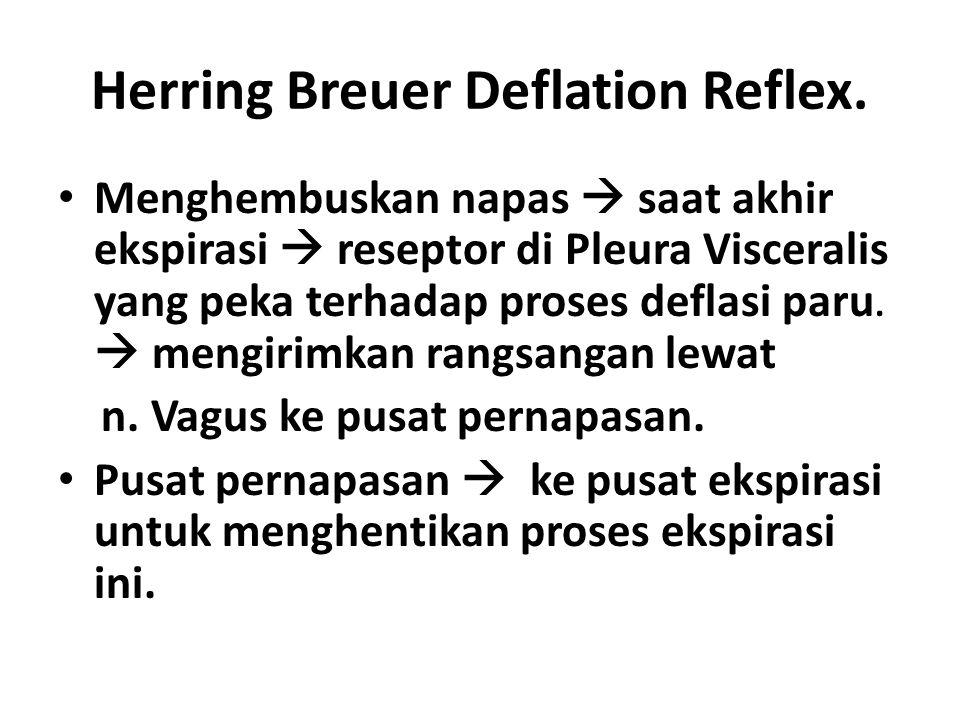 Herring Breuer Deflation Reflex. Menghembuskan napas  saat akhir ekspirasi  reseptor di Pleura Visceralis yang peka terhadap proses deflasi paru. 