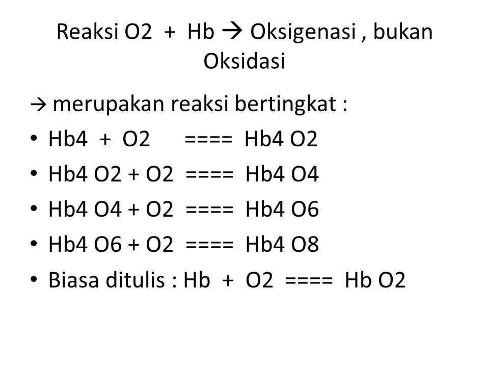 Reaksi O2 + Hb  Oksigenasi, bukan Oksidasi  merupakan reaksi bertingkat : Hb4 + O2 ==== Hb4 O2 Hb4 O2 + O2 ==== Hb4 O4 Hb4 O4 + O2 ==== Hb4 O6 Hb4 O