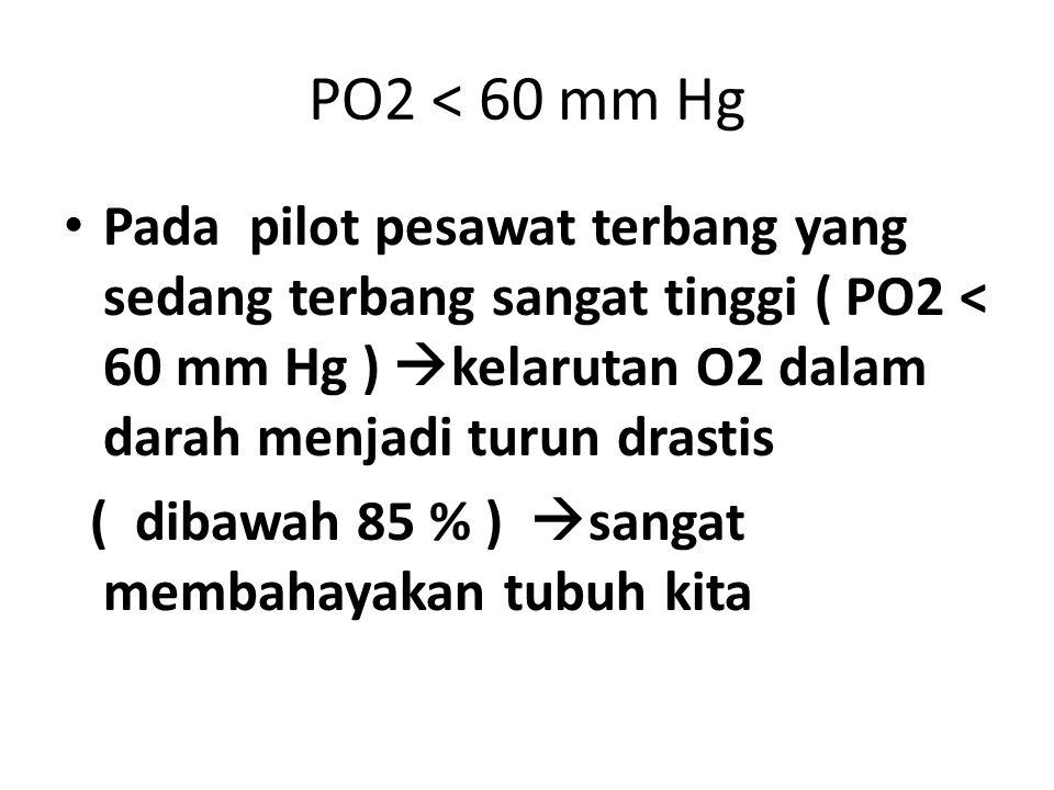 PO2 < 60 mm Hg Pada pilot pesawat terbang yang sedang terbang sangat tinggi ( PO2 < 60 mm Hg )  kelarutan O2 dalam darah menjadi turun drastis ( diba