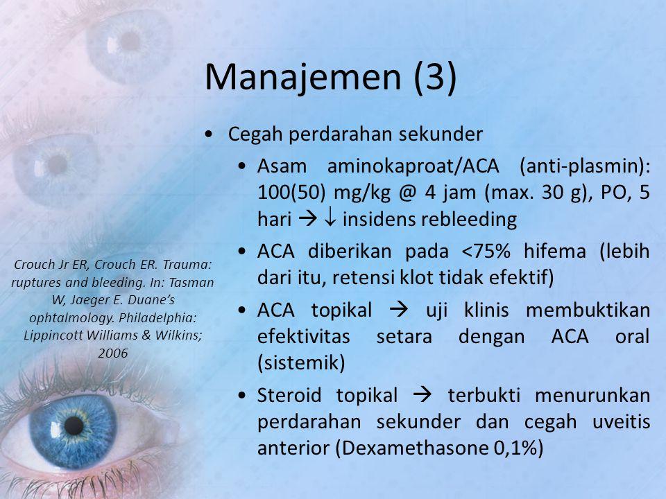 Manajemen (3) Cegah perdarahan sekunder Asam aminokaproat/ACA (anti-plasmin): 100(50) mg/kg @ 4 jam (max. 30 g), PO, 5 hari   insidens rebleeding AC