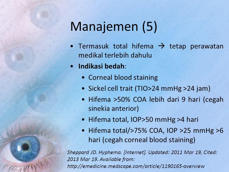 Manajemen (5) Termasuk total hifema  tetap perawatan medikal terlebih dahulu Indikasi bedah: Corneal blood staining Sickel cell trait (TIO>24 mmHg >2