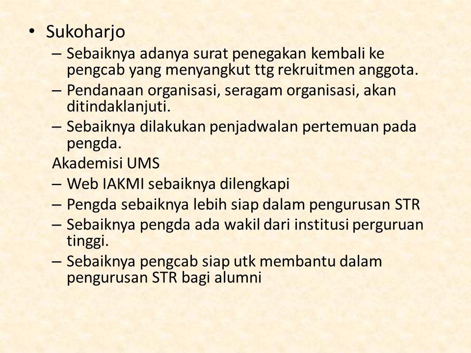 Sukoharjo – Sebaiknya adanya surat penegakan kembali ke pengcab yang menyangkut ttg rekruitmen anggota. – Pendanaan organisasi, seragam organisasi, ak