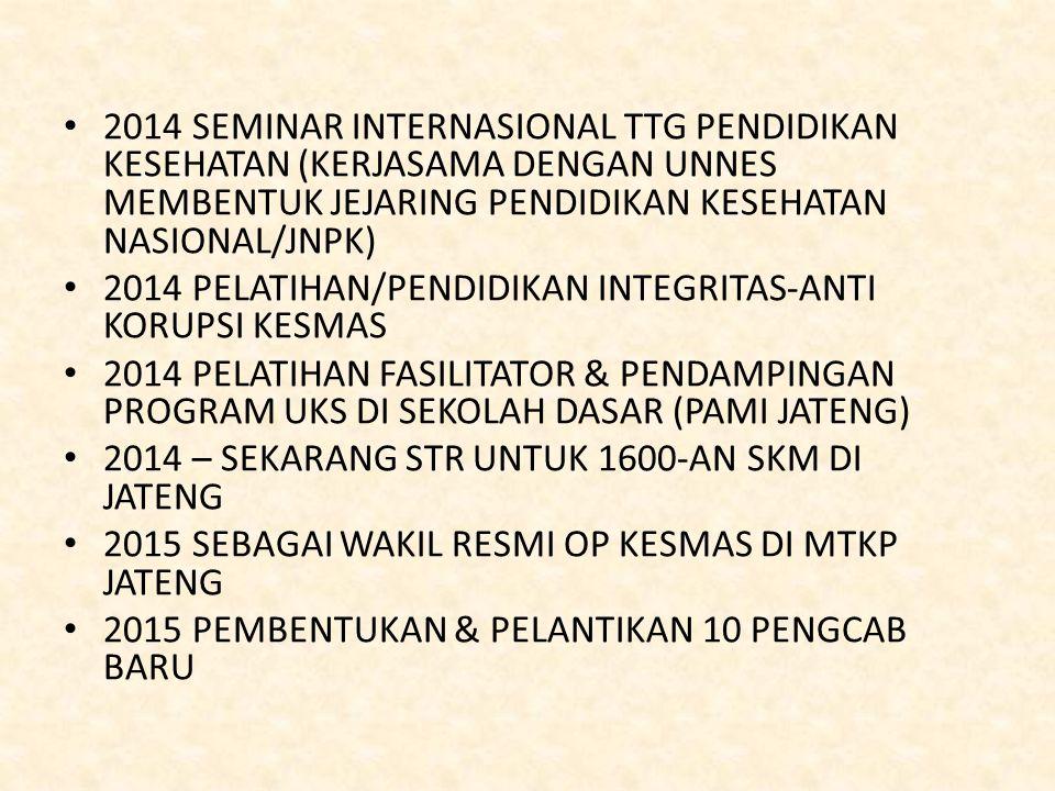 2014 SEMINAR INTERNASIONAL TTG PENDIDIKAN KESEHATAN (KERJASAMA DENGAN UNNES MEMBENTUK JEJARING PENDIDIKAN KESEHATAN NASIONAL/JNPK) 2014 PELATIHAN/PEND