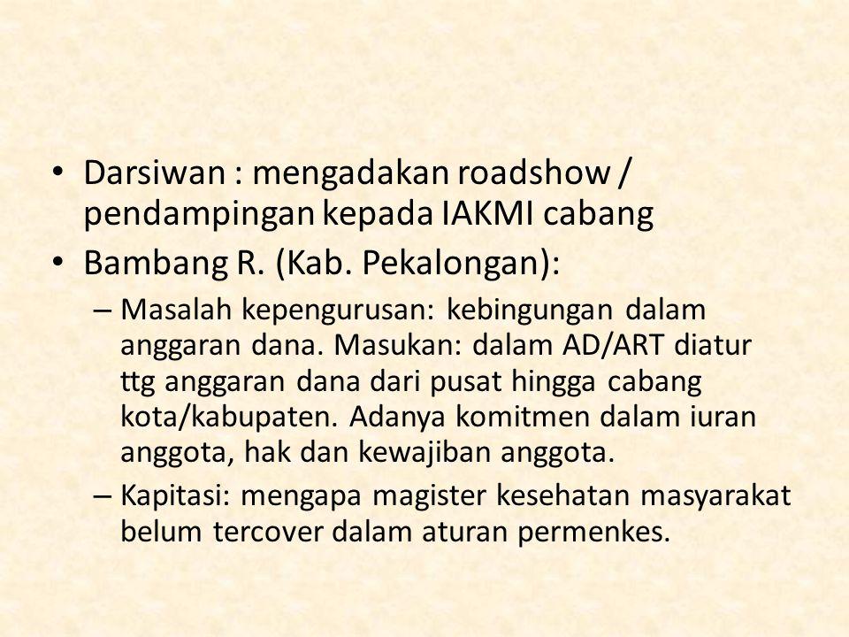 Darsiwan : mengadakan roadshow / pendampingan kepada IAKMI cabang Bambang R. (Kab. Pekalongan): – Masalah kepengurusan: kebingungan dalam anggaran dan