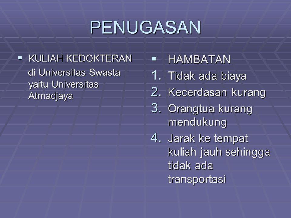 PENUGASAN  KULIAH KEDOKTERAN di Universitas Swasta yaitu Universitas Atmadjaya di Universitas Swasta yaitu Universitas Atmadjaya  HAMBATAN 1. Tidak