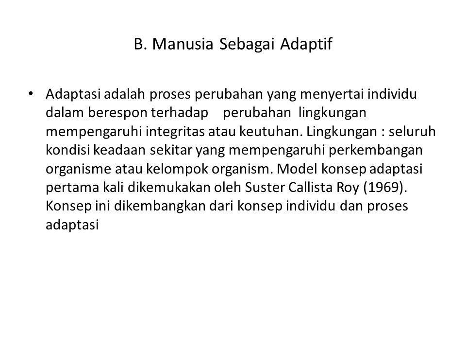B. Manusia Sebagai Adaptif Adaptasi adalah proses perubahan yang menyertai individu dalam berespon terhadap perubahan lingkungan mempengaruhi integrit
