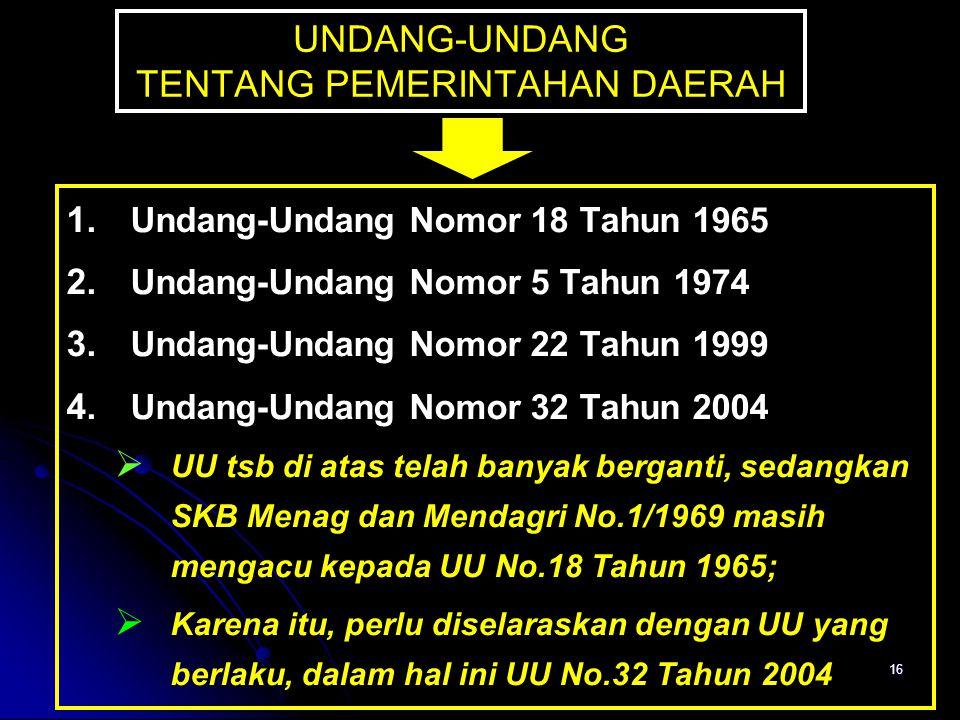 16 UNDANG-UNDANG TENTANG PEMERINTAHAN DAERAH 1. 1. Undang-Undang Nomor 18 Tahun 1965 2. 2. Undang-Undang Nomor 5 Tahun 1974 3. 3. Undang-Undang Nomor