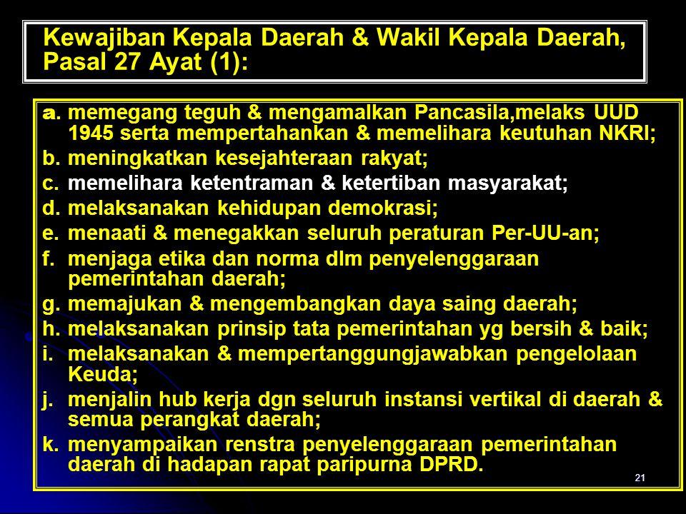 21 Kewajiban Kepala Daerah & Wakil Kepala Daerah, Pasal 27 Ayat (1): a. memegang teguh & mengamalkan Pancasila,melaks UUD 1945 serta mempertahankan &