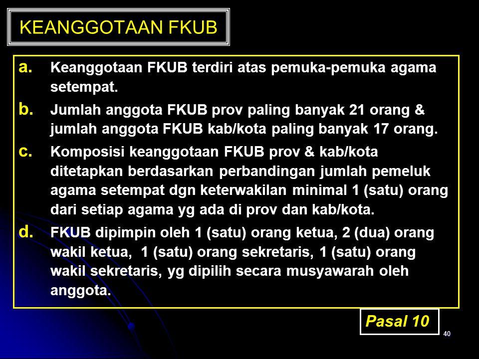 40 KEANGGOTAAN FKUB a. a. Keanggotaan FKUB terdiri atas pemuka-pemuka agama setempat. b. b. Jumlah anggota FKUB prov paling banyak 21 orang & jumlah a