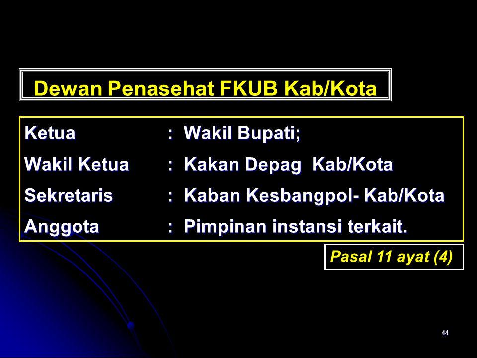 44 Dewan Penasehat FKUB Kab/Kota Ketua: Wakil Bupati; Wakil Ketua: Kakan Depag Kab/Kota Sekretaris: Kaban Kesbangpol- Kab/Kota Anggota: Pimpinan insta