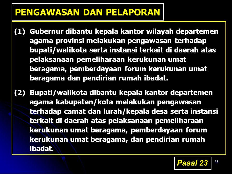 58 PENGAWASAN DAN PELAPORAN (1)Gubernur dibantu kepala kantor wilayah departemen agama provinsi melakukan pengawasan terhadap bupati/walikota serta in