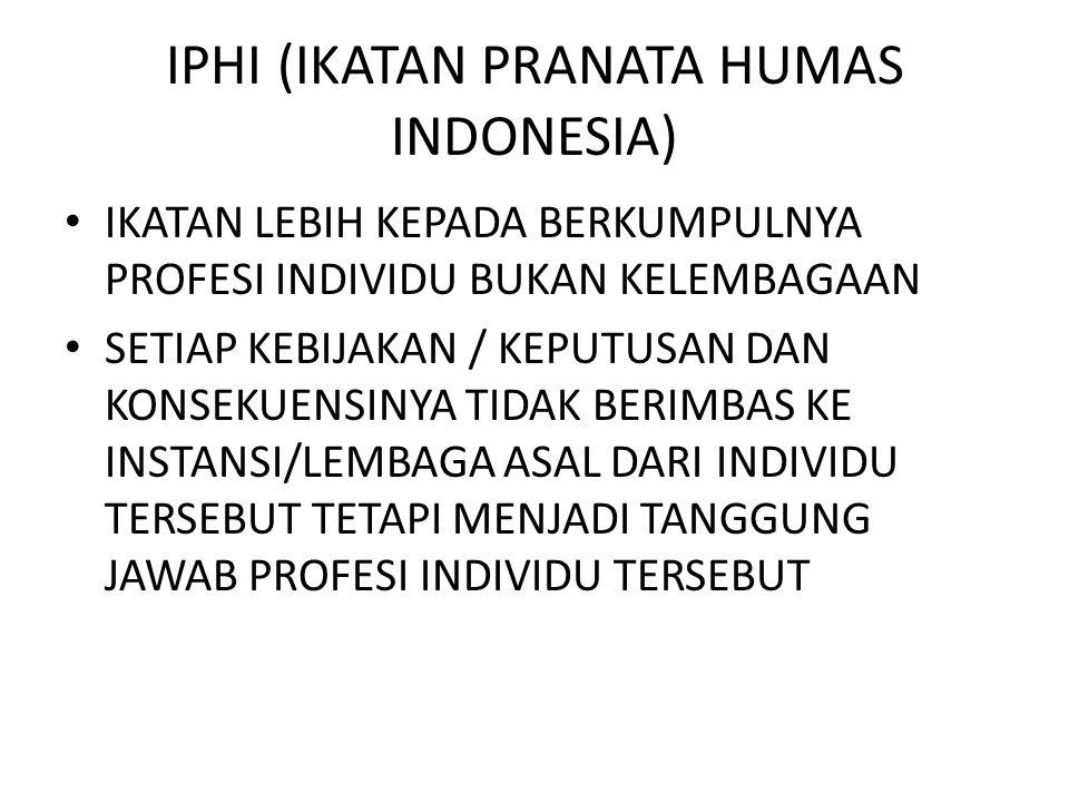 IPHI (IKATAN PRANATA HUMAS INDONESIA) IKATAN LEBIH KEPADA BERKUMPULNYA PROFESI INDIVIDU BUKAN KELEMBAGAAN SETIAP KEBIJAKAN / KEPUTUSAN DAN KONSEKUENSI