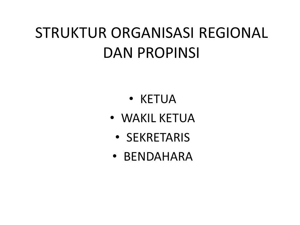 STRUKTUR ORGANISASI REGIONAL DAN PROPINSI KETUA WAKIL KETUA SEKRETARIS BENDAHARA
