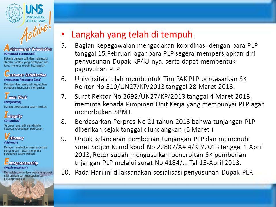 Langkah yang telah di tempuh : 5.Bagian Kepegawaian mengadakan koordinasi dengan para PLP tanggal 15 Pebruari agar para PLP segera mempersiapkan diri