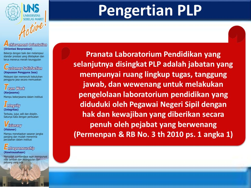 Pengertian PLP Pranata Laboratorium Pendidikan yang selanjutnya disingkat PLP adalah jabatan yang mempunyai ruang lingkup tugas, tanggung jawab, dan w