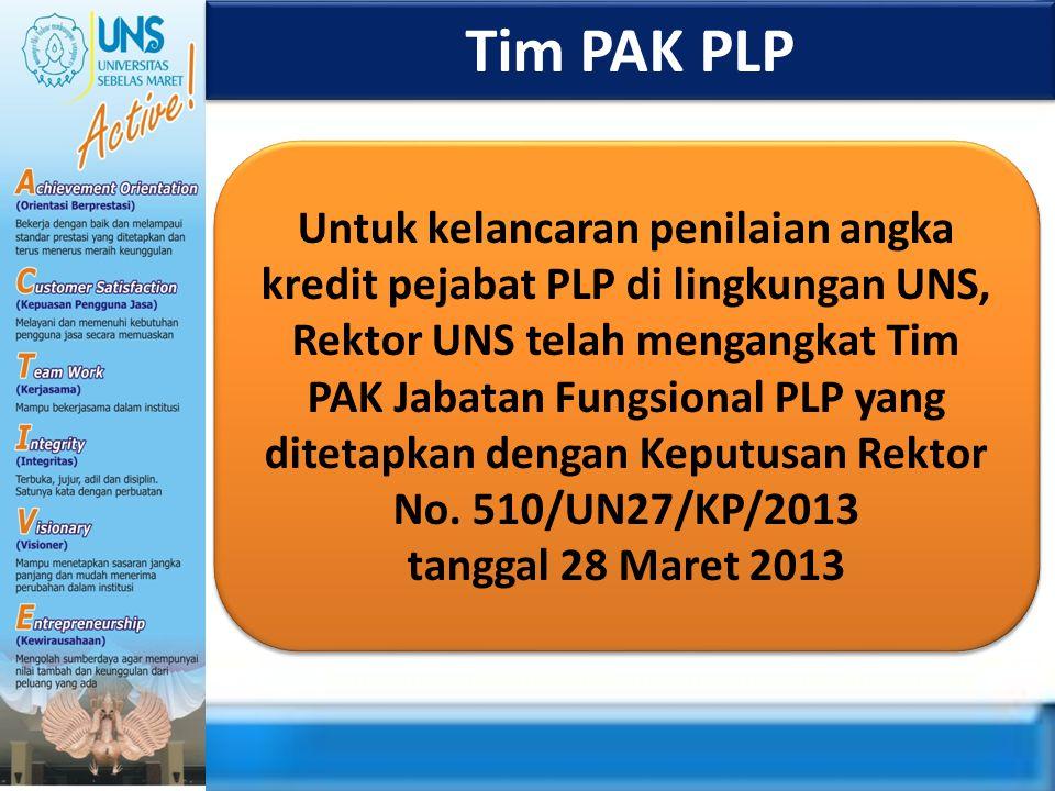 Tim PAK PLP Untuk kelancaran penilaian angka kredit pejabat PLP di lingkungan UNS, Rektor UNS telah mengangkat Tim PAK Jabatan Fungsional PLP yang dit
