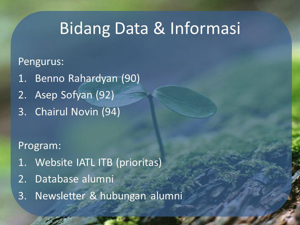 Bidang Data & Informasi Pengurus: 1.Benno Rahardyan (90) 2.Asep Sofyan (92) 3.Chairul Novin (94) Program: 1.Website IATL ITB (prioritas) 2.Database al