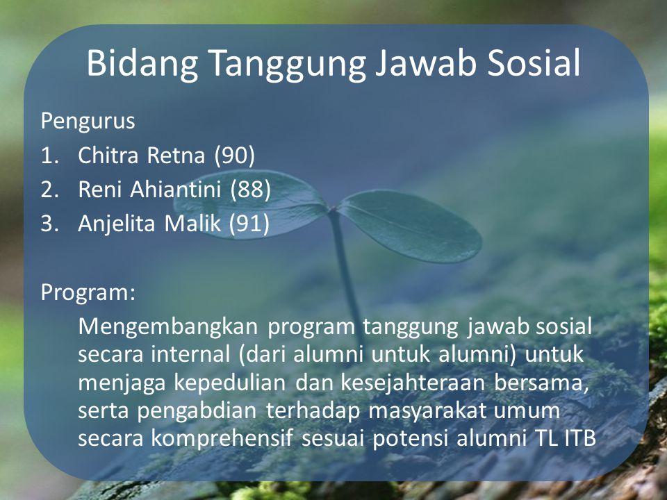 Bidang Tanggung Jawab Sosial Pengurus 1.Chitra Retna (90) 2.Reni Ahiantini (88) 3.Anjelita Malik (91) Program: Mengembangkan program tanggung jawab so