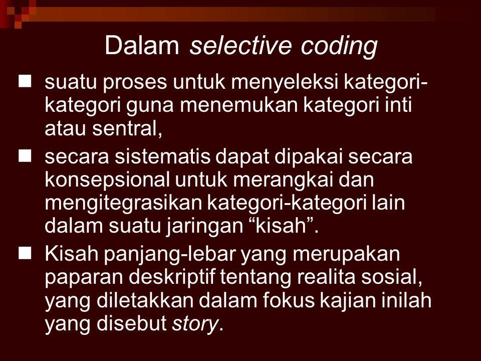 Dalam selective coding suatu proses untuk menyeleksi kategori- kategori guna menemukan kategori inti atau sentral, secara sistematis dapat dipakai sec