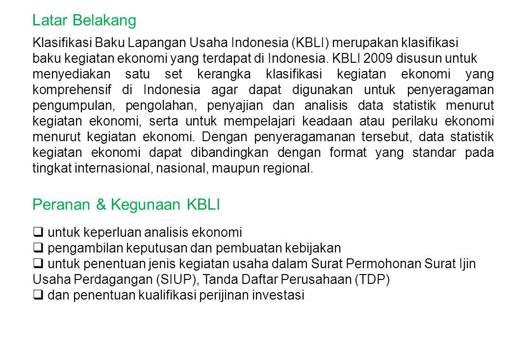 Klasifikasi Baku Lapangan Usaha Indonesia (KBLI) merupakan klasifikasi baku kegiatan ekonomi yang terdapat di Indonesia. KBLI 2009 disusun untuk menye