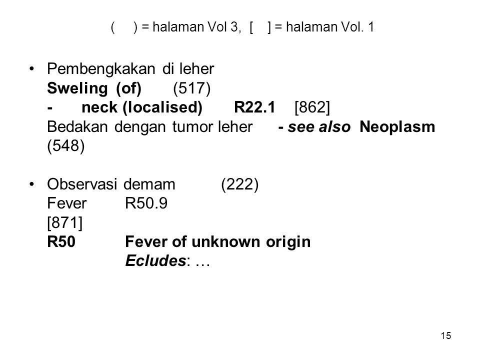 15 ( ) = halaman Vol 3, [ ] = halaman Vol. 1 Pembengkakan di leher Sweling (of)(517) - neck (localised) R22.1 [862] Bedakan dengan tumor leher - see a