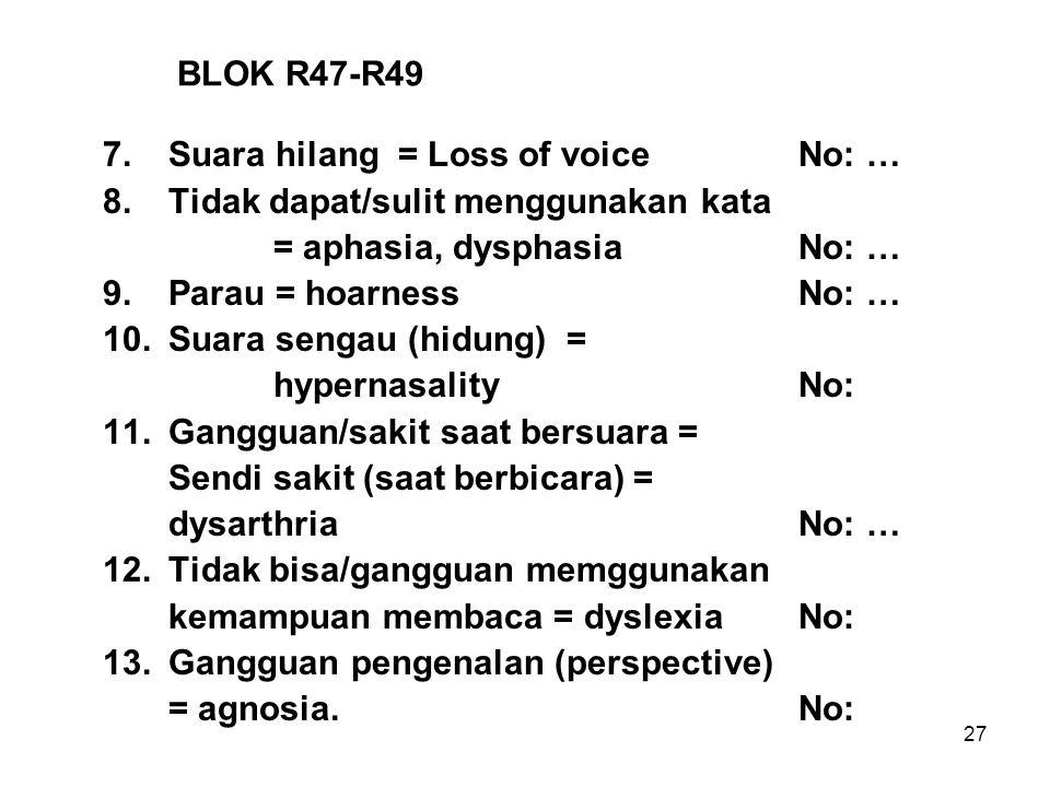 27 BLOK R47-R49 7.Suara hilang = Loss of voiceNo: … 8.Tidak dapat/sulit menggunakan kata = aphasia, dysphasiaNo: … 9.Parau = hoarnessNo: … 10.Suara se