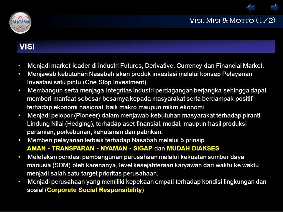 Visi, Misi & Motto (1/2) VISI Menjadi market leader di industri Futures, Derivative, Currency dan Financial Market.