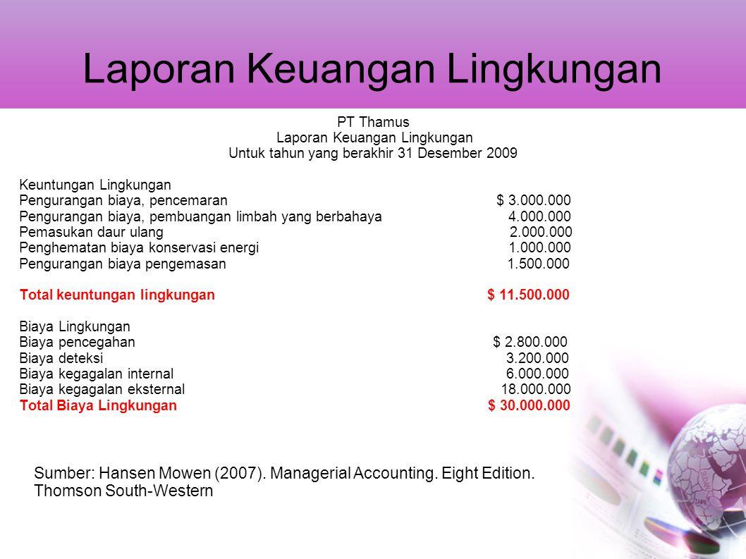 Laporan Keuangan Lingkungan PT Thamus Laporan Keuangan Lingkungan Untuk tahun yang berakhir 31 Desember 2009 Keuntungan Lingkungan Pengurangan biaya,