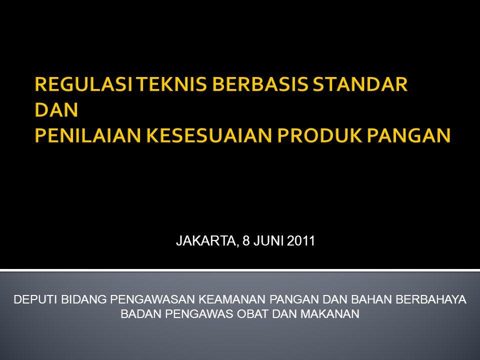 JAKARTA, 8 JUNI 2011 DEPUTI BIDANG PENGAWASAN KEAMANAN PANGAN DAN BAHAN BERBAHAYA BADAN PENGAWAS OBAT DAN MAKANAN
