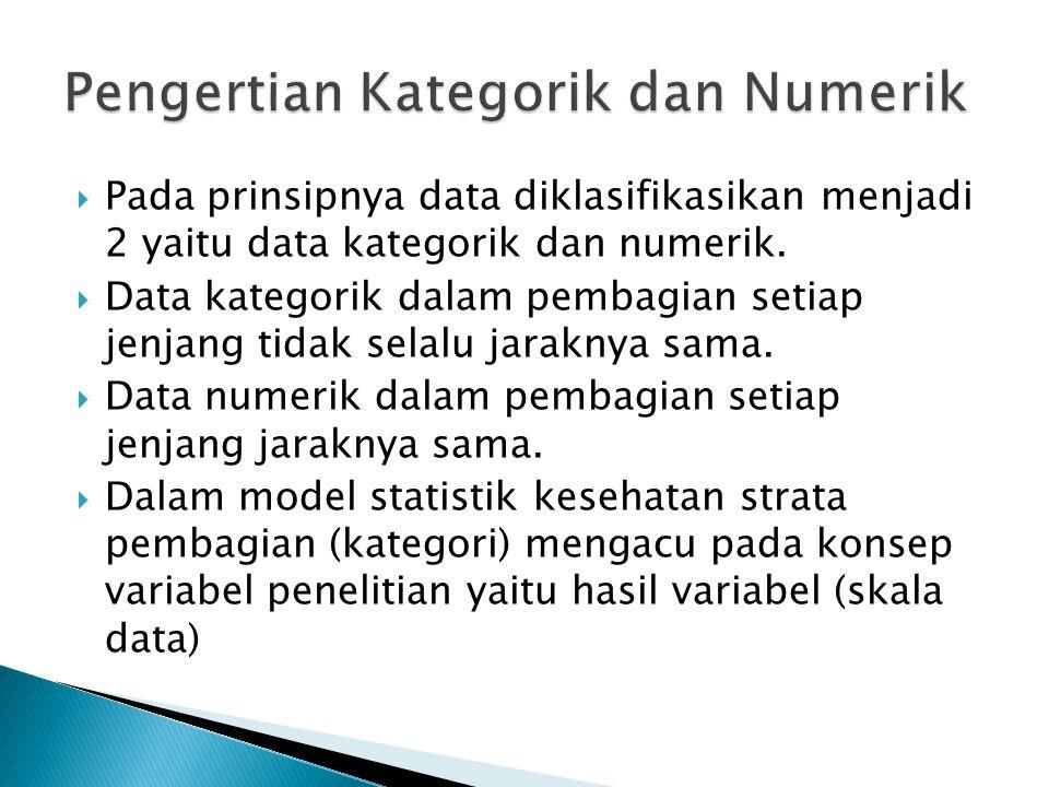  Variabel Kategorik di operasionalkan sebagai suatu bentuk klasifikasi strata dimana masing-masing strata belum tentu memiliki karakteristik sama  Variabel kategorik memerlukan acuan dalam membagi setiap strata dalam penelitian  Variabel kategoris cenderung lebih kasar dalam perhitungan secara statistik