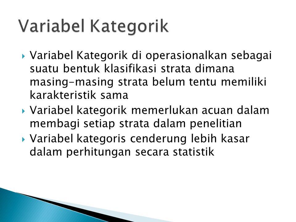  Variabel Kategorik di operasionalkan sebagai suatu bentuk klasifikasi strata dimana masing-masing strata belum tentu memiliki karakteristik sama  V