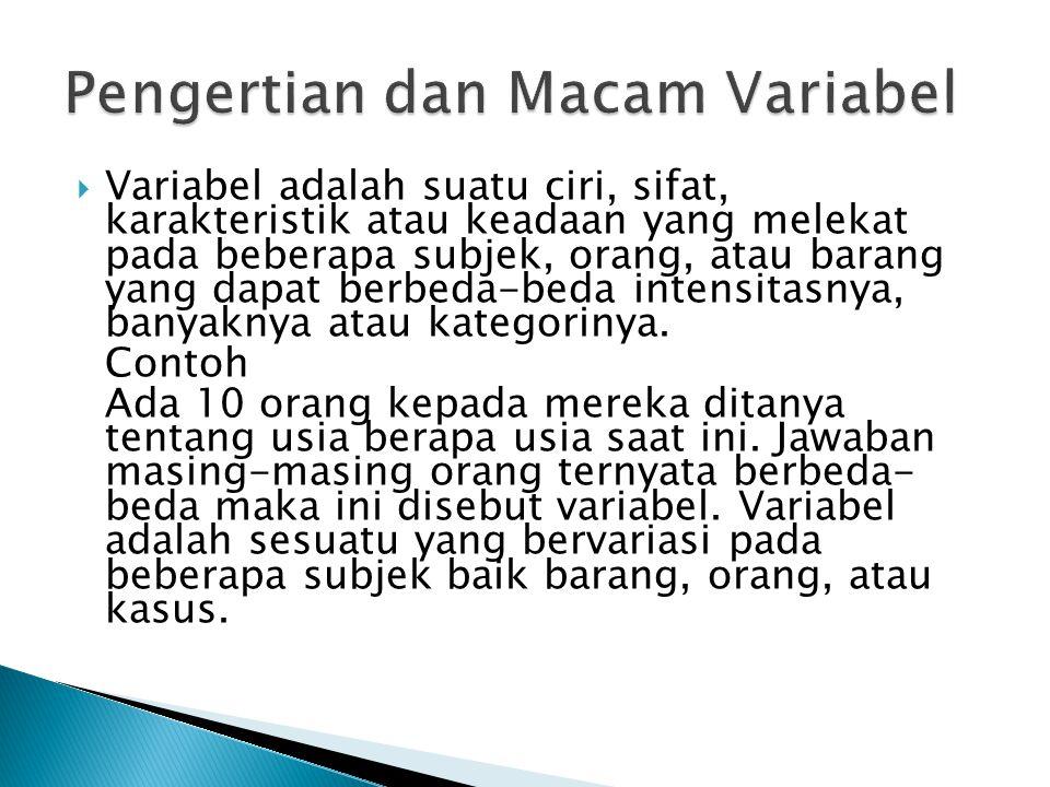  Variabel adalah suatu ciri, sifat, karakteristik atau keadaan yang melekat pada beberapa subjek, orang, atau barang yang dapat berbeda-beda intensit
