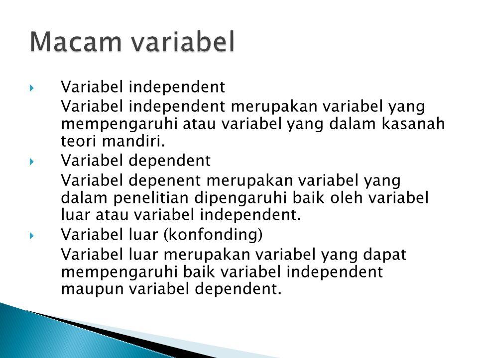  Variabel independent Variabel independent merupakan variabel yang mempengaruhi atau variabel yang dalam kasanah teori mandiri.  Variabel dependent
