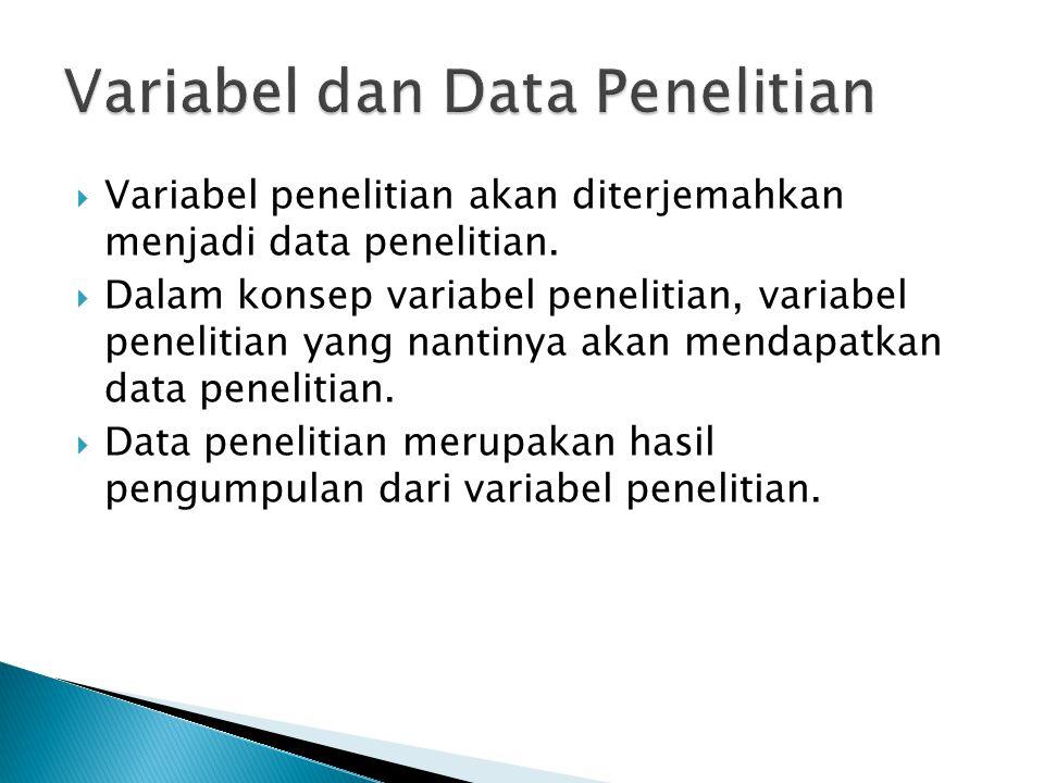  Variabel penelitian akan diterjemahkan menjadi data penelitian.  Dalam konsep variabel penelitian, variabel penelitian yang nantinya akan mendapatk