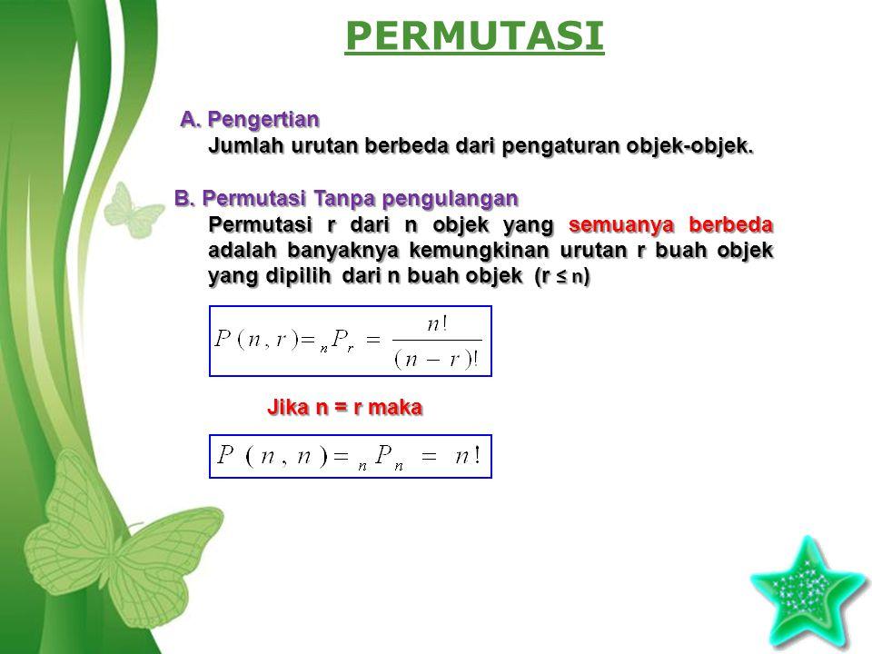 Free Powerpoint TemplatesPage 2 PERMUTASI A. Pengertian Jumlah urutan berbeda dari pengaturan objek-objek. B. Permutasi Tanpa pengulangan Permutasi r