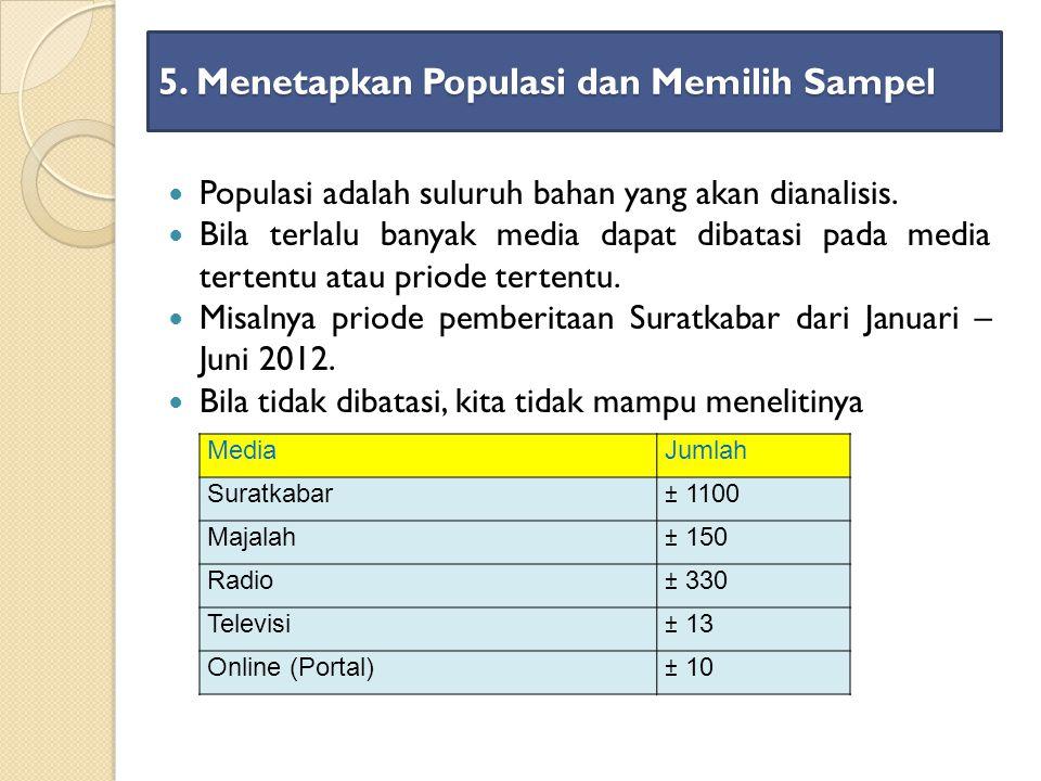 5. Menetapkan Populasi dan Memilih Sampel Populasi adalah suluruh bahan yang akan dianalisis. Bila terlalu banyak media dapat dibatasi pada media tert