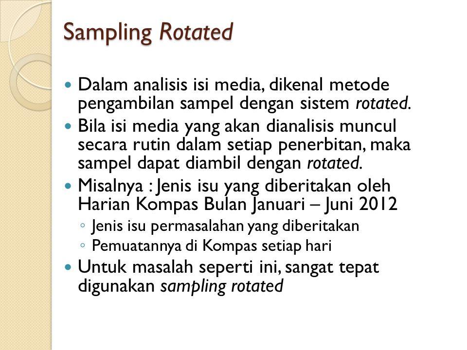 Sampling Rotated Dalam analisis isi media, dikenal metode pengambilan sampel dengan sistem rotated. Bila isi media yang akan dianalisis muncul secara