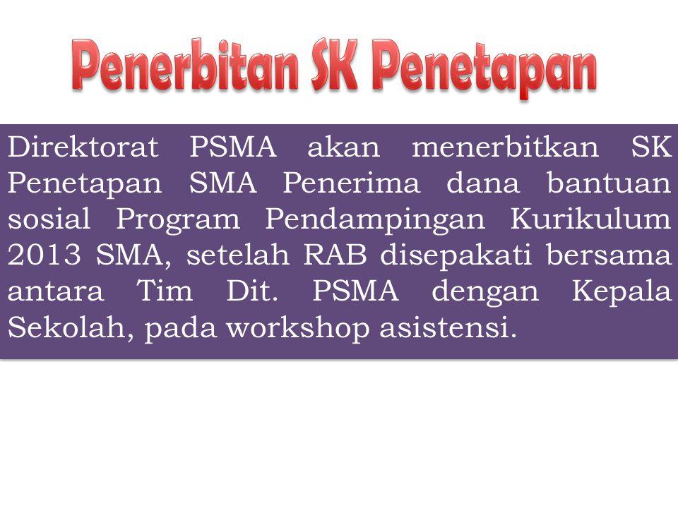 Direktorat PSMA akan menerbitkan SK Penetapan SMA Penerima dana bantuan sosial Program Pendampingan Kurikulum 2013 SMA, setelah RAB disepakati bersama