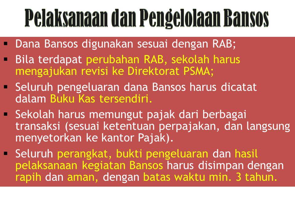  Dana Bansos digunakan sesuai dengan RAB;  Bila terdapat perubahan RAB, sekolah harus mengajukan revisi ke Direktorat PSMA;  Seluruh pengeluaran da