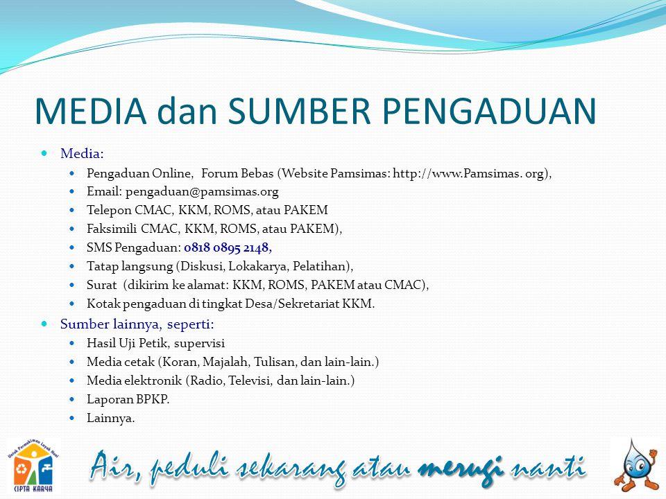 MEDIA dan SUMBER PENGADUAN Media: Pengaduan Online, Forum Bebas (Website Pamsimas: http://www.Pamsimas.