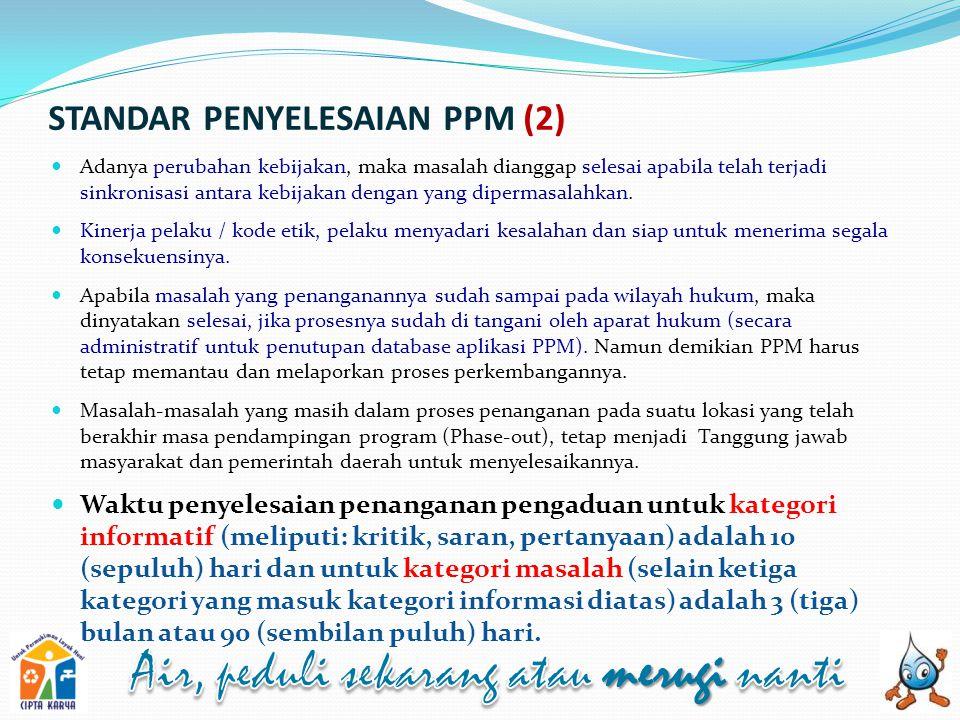 STANDAR PENYELESAIAN PPM (2) Adanya perubahan kebijakan, maka masalah dianggap selesai apabila telah terjadi sinkronisasi antara kebijakan dengan yang dipermasalahkan.