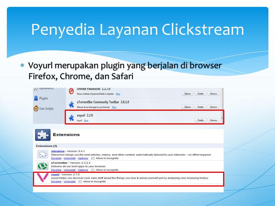  Voyurl merupakan plugin yang berjalan di browser Firefox, Chrome, dan Safari Penyedia Layanan Clickstream