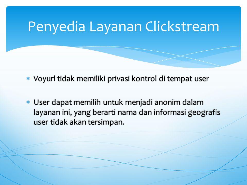  Voyurl tidak memiliki privasi kontrol di tempat user  Voyurl tidak memiliki privasi kontrol di tempat user  User dapat memilih untuk menjadi anonim dalam layanan ini, yang berarti nama dan informasi geografis user tidak akan tersimpan.