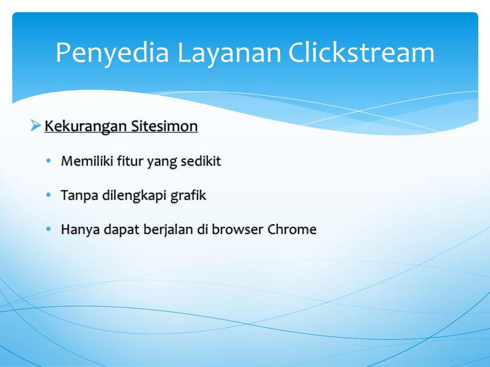  Kekurangan Sitesimon Memiliki fitur yang sedikit Memiliki fitur yang sedikit Tanpa dilengkapi grafik Tanpa dilengkapi grafik Hanya dapat berjalan di browser Chrome Hanya dapat berjalan di browser Chrome Penyedia Layanan Clickstream